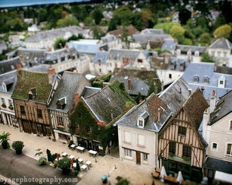 Village Photograph, Architecture Decor, Cafe Photo, Tilt Shift Photography, Earth Tones, Brown and Green Decor, Travel, French Village Photo