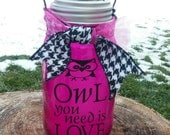 Solar powered lid light with owl always love you and owl vinyl