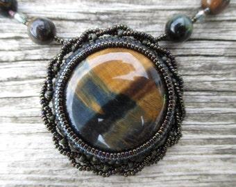 Tigers Eye and Hawk Eye Spiral Necklace