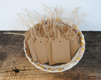 25 Paper Kraft Card Stock Tags Hand Punched with Burlap String