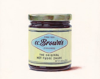 Hot Fudge Sauce. Original egg tempera illustration from 'The Taste of America' book.