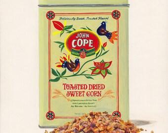 Dried Corn. Original egg tempera illustration from 'The Taste of America' book.