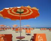 Beach Photograph, Orange Umbrellas, Fine Art Photograph, Art Walls, Blue Photo, Orange Photo, Sandy Beach Photo, Gray Malin Inspired Art