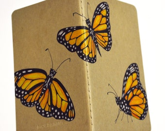 Monarch butterfly illustrated mini moleskine notebook