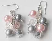 Pink and Gray Pearl and Crystal Cluster Earrings,  Pink and Gray Bridesmaid Jewelry,  Dangle Pearl Earrings, Prom Jewelry