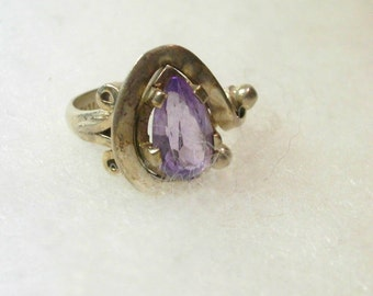 Vintage Hand Crafted Silver Amethyst ? Ring -  No. 1502