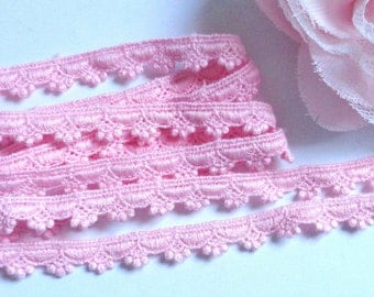 3/8 inch wide pink scalloped lace trim selling by the yard