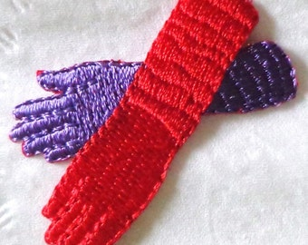 embroidered iron on applique-GLOVES RED/PURPLE