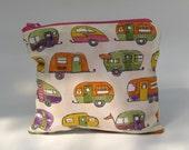 Ivory caravan zipper pouch - toiletry bag - hot pink lining orange yellow green purple
