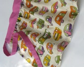 Half apron for girls - retro style with caravan print - age 2 to 4 pink ivory