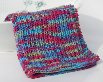 Hand knitted dish cloth - wash cloth - soft cotton pink turquoise green blue multicolored