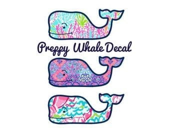 Personalized Lilly Pulitzer Style Whale Decal