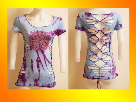 SIZE SMALL...ONLY 1 Made...Tie Dyed Shredded Womens / Juniors Top Sanskrit Inspired