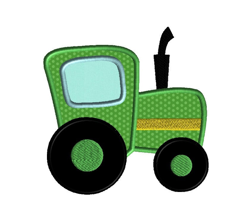 Tractor applique machine embroidery design instant by