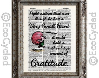 Piglet's Very Small Heart holds a rather large amount of Gratitude on Vintage Upcycled Dictionary Art Print Book Art Print Winnie the Pooh
