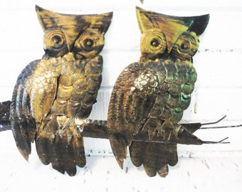 Vintage owl wall art sculpture metal brutalist 1970s retro