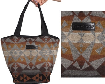 90s PENDLETON Large Tote Bag, Geometric Print Wool and Canvas Purse, Grey Tan Brown Triangle Kaleidoscope, 1990s Vintage Womens Satchel Hobo