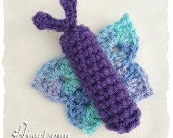 Butterfly Chap Stick Lip Balm Holder with clip to attach to a key chain or bag, hand crocheted. Custom Colors available.