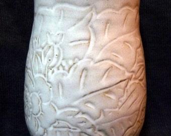 Vase handmade white on Etsy by IndianHeadclay