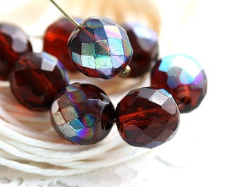 10mm Dark Topaz Czech glass beads, Brown topaz with AB finish, fire polished, round faceted beads - 10Pc - 2172