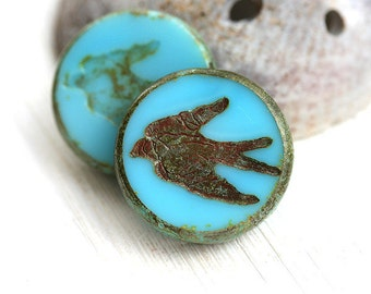 Turquoise blue Bird beads, Swallow, picasso beads, czech glass, birdy, large, round, tablet shape, rustic - 23mm - 2Pc - 2297