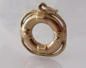Vintage 9ct Gold Life Buoy Charm or Pendant