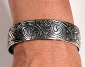 Vintage Art Deco Sterling Cuff Artists Jewelry Handmade Stylized Arabesques 1930s Ooak French Jewelry