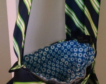 Upcycled, Recycled, Repurposed Jean purse with quirky green & blue tie. Upcycled Accessories- By: Turn the Paige