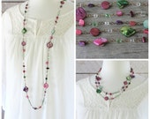 Long Colorful Necklace: Pink, Purple, and Green Multicolor Shell and Glass Jewelry with Antiqued Brass, Layering Style