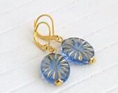 Blue and Gold Glass Earrings .. starburst earrings, blue glass earrings, blue gold earrings, periwinkle blue, blue dangle earrings