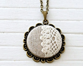 Lace and Linen Button Necklace .. beige button, fabric pendant, lace necklace, jewellery