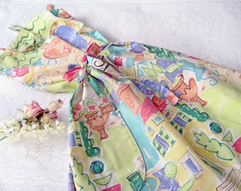 Vintage Full Apron, Pastel Summer Colors, Abstract House, Fountains, Flowers, Watercolor Style Print, One Size