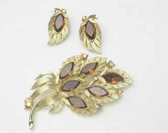 Signed Lisner Marqueis Topax Rhinestone Vintage Demi Parure Brooch Pin Earrings Costume Jewelry