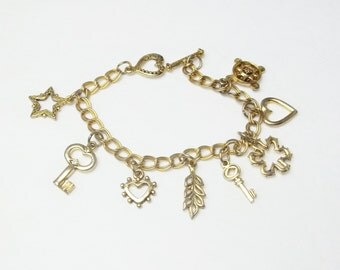 Heart Key Star Vintage Gold Charm Bracelet Costume Jewelry