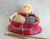 Personalized Yarn Bowl – Whimsical Knitting Bowl / Woman Crochet yarn Storage / Wool Organizer / Craft Supply / Marsala bowl