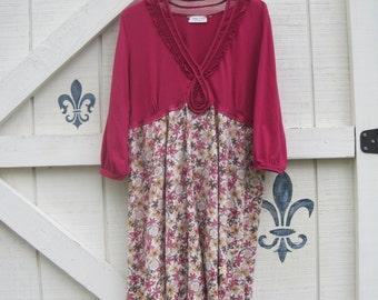 L Floral dress, Bohemian dress, linen floral, comfy dress, rustic dress, Pink, fall romantic, vintage look, hippie Fushia floral,