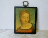 Vintage Picture of Young Girl Wood Transfer Art