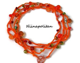 Orange Marmalade Wrap Bracelet/Necklace/Anklet - One of a Kind - Ready to Ship