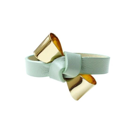 Genuine Leather Ribbon Bracelet - Mint