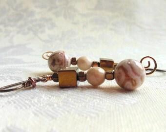 Natural crazy lace agate earrings, tan, brown, bronze earrings, niobium earring wires, hypoallergenic earrings, petrified wood