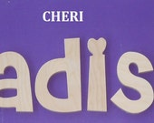 """Wooden Wall Letters - Unpainted - 6"""" Size - Cheri plus Various other Fonts - Gifts and Decor for Nursery - Home - Playrooms - Dorms"""