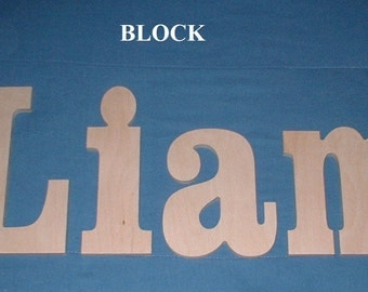 """SALE :) 8"""" Size Unpainted Wooden Wall Letters, Block plus Various other Fonts, Gifts and Decor for Nursery, Home, Playrooms, Dorms"""