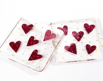 Love hearts coasters - set of two -fused glass art christmas gifts present secret santa stocking filler ruby wedding anniversary engagement