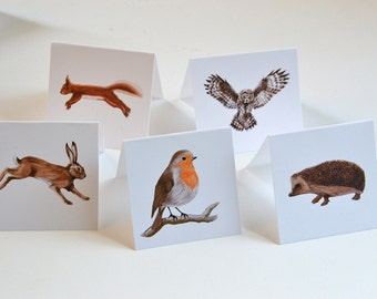 Woodland Animals - Set of FIVE - Gift Tags - Place Cards - Red Squirrel - Owl - Hedgehog - Robin - Hare