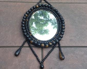 vintage wood bead mirror