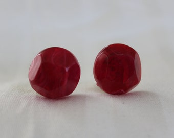 Violet Red Lucite Button Earrings
