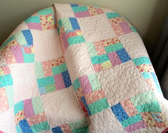 """1930's Reproduction Fabrics Are Soft and Serene In This Diamond Design 44"""" X 44"""" Quilt"""