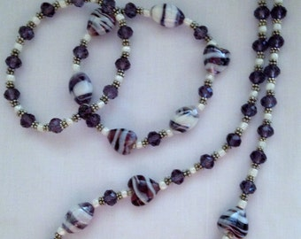 Purple and White Striped Necklace Set