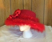 Red Hat Society Wide Brim WOOL Red FEATHER DERBY Hat
