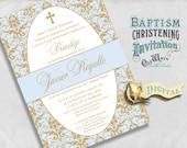 Elegant Spanish Baptism Invitations Blue and Gold Baby Boy Bautizo Invitación Damask - Custom Printable Invite - Digital JPEG or PDF File